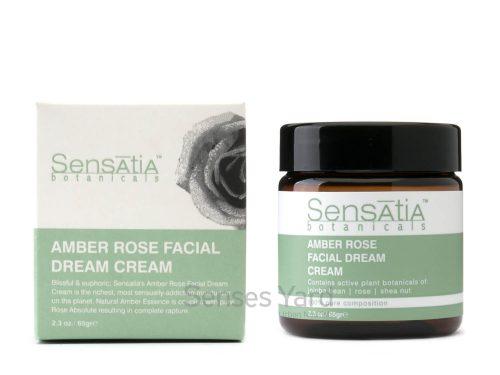 Amber Rose Facial Dream Cream / 琥珀玫瑰晚霜含有豐富維他命和植物營養素,能深層滋潤所有膚質,即使是最乾燥的肌膚都能強效保濕,促進年輕細胞生長,防止皮膚老化,讓肌膚感覺柔軟、光滑、光亮。適用肌膚:乾燥肌膚。主要成份:大馬士革玫瑰Rose Damascena、橄欖角鯊烷Olive Squalane、荷荷巴油Jojoba Oil。