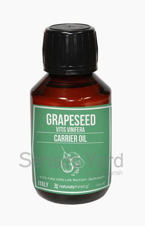 Grapeseed Carrier Oil / 葡萄籽基底油質地輕盈及不油膩,易被皮膚吸收,能深層滋潤肌膚/含有豐富維他命E,能抗氧化,強效延緩肌膚老化/常見用於按摩油產品。Quality Carrier Oil from Naturallythinking.