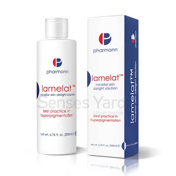 醫學級品牌Pharmann Lamelat™ micellar skin delight solution 美白卸妝潔膚水溫和配方,不刺激皮膚或損害表皮脂質膜,有效地去除化妝品殘留物及油,潔淨肌膚。成份中的透明質酸有鎖水功能,強效保濕,有助抗衰老。配方含有甘醇酸(果酸)能淡化色班,改善膚色不均勻,達致美白效果。
